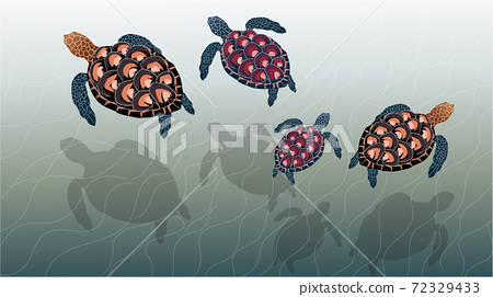 Composition of a family of sea turtles swimming in the ocean 72329433