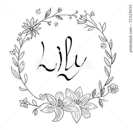 Abstract circle of flowers with life written in the middle 72329435