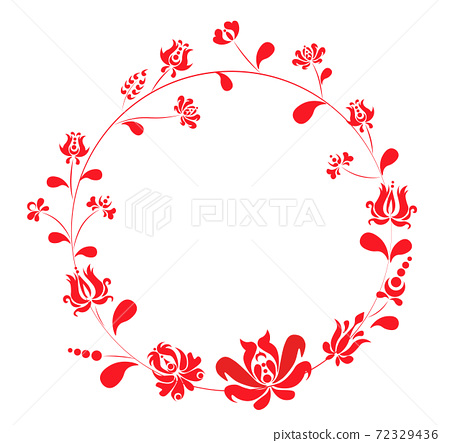 Abstract circle of flowers and leaves drawn in maghiar style 72329436