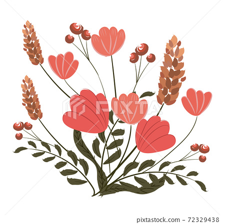 Composition of poppy, pink veronica flowers and twigs with berries 72329438