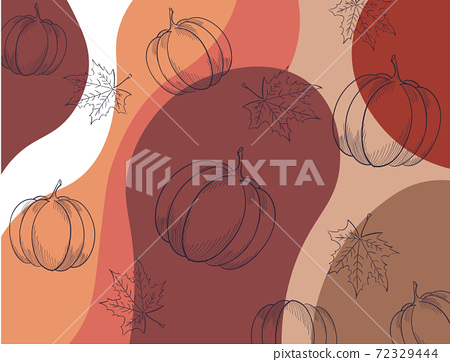 Autumnal pattern with leaves, pumpkins and abstract waves 72329444