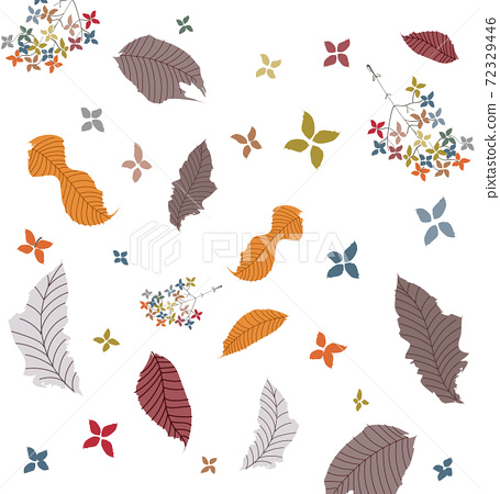 Abstract pattern of autumnal leaves, twigs and flowers 72329446