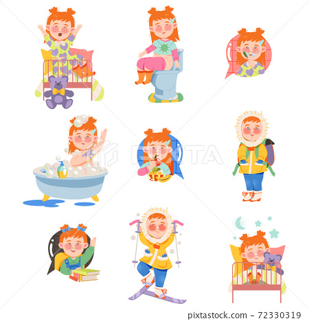 Little Red Haired Girl Waking up, Bathing and Eating Breakfast Vector Set 72330319