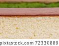 カステラの横断面、カステラ 、宇治抹茶カステラ、横断、おやつ、焼き菓子、和三盆、ザラメ糖 72330889