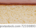 カステラの横断面、カステラ 、宇治抹茶カステラ、横断、おやつ、焼き菓子、和三盆、ザラメ糖 72330893