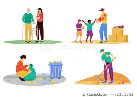 Charity activities flat vector illustrations set 72331552