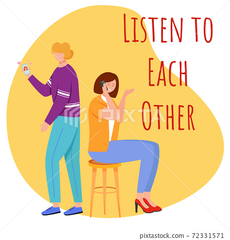 Listen to each other flat poster vector template 72331571