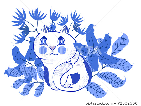 Composition of a cat sitting with various leaves and flowers behind his back 72332560