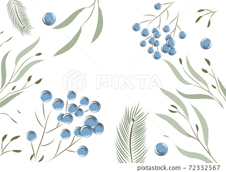 Composition of leaves and twigs with blue berries on them 72332567