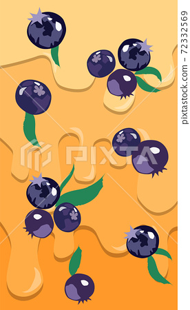 Composition on Blueberries with leaves with dripping liquid in background. 3D mockup product placement. Realistic 72332569