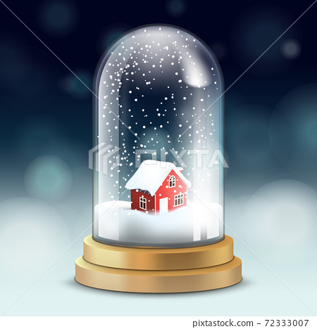 Realistic crystal ball or tall flask with snow inside and red cozy little house - symbol of Christmas, vector. 72333007
