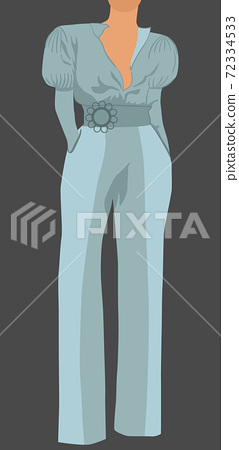 Woman dressed in light blue classic blouse, pants and belt posing with her hand in pockets 72334533