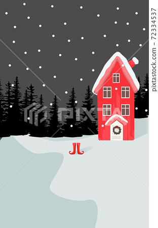 Winter themed composition of a house in forest with a pair of boots near 72334537