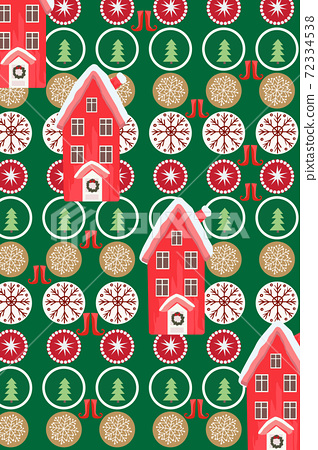 Christmas themed pattern composed of houses, pines, cookies, snowflakes and boots 72334538