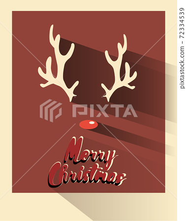 Christmas card composed of reindeer horns and red nose 72334539