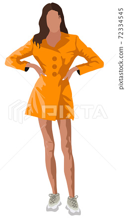 Brunette tanned woman dressed in orange coat and white sneakers 72334545