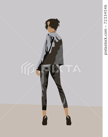 View from back of a black haired woman dressed in gray suit and black high heels looking back 72334546
