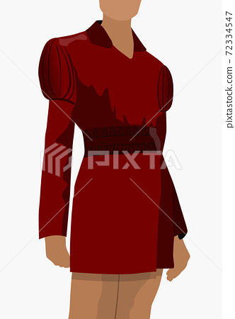 Tanned woman dressed in red classic dress standing in a pose 72334547