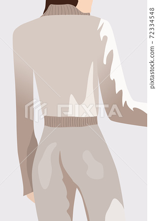View from back of a brunette woman dressed in white sweater and pants 72334548