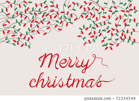 Christmas themed composition of festive lights and calligraphy writing below 72334549