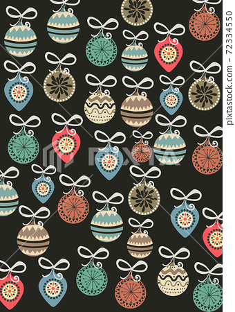 Christmas themed pattern composed of tree decorations 72334550