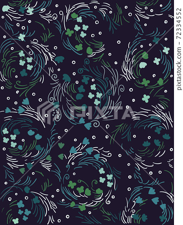Abstract pattern composed using curved lines, flower buds and leaves 72334552