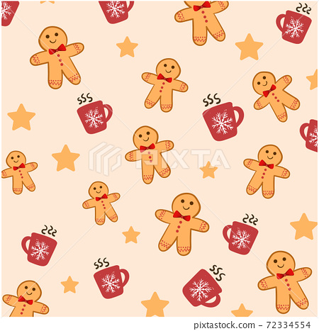Christmas themed pattern composed of gingerbread men, hot chocolate filled cups and stars 72334554