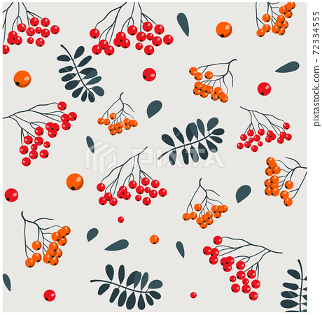 Christmas themed pattern of various berries and twigs with leaves 72334555