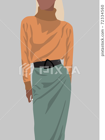 Blonde woman dressed in orange sweater and green skirt 72334560