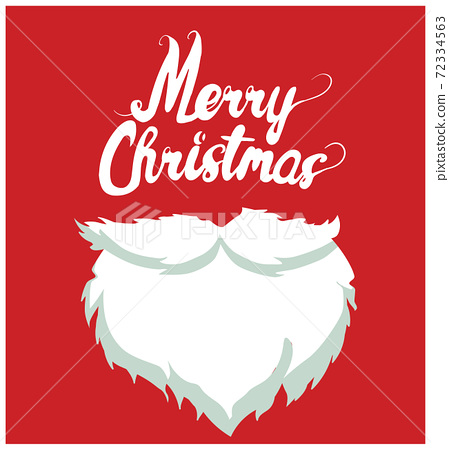 White beard and moustache with Merry Christmas wrote above. Vector 72334563