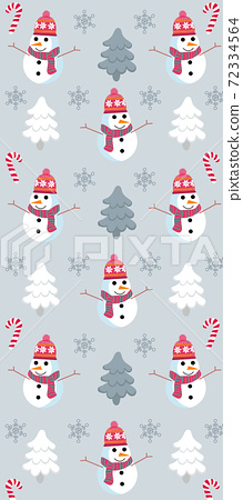 Christmas themed pattern with snowman, pine trees, snowflakes and candy canes 72334564