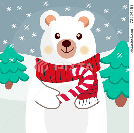 Composition of a polar bear with red scarf and a candy cane in his paw 72334565