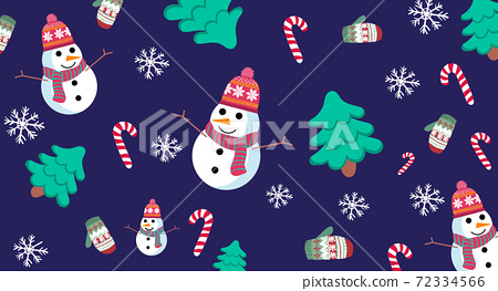 Christmas themed pattern with snowman, pine trees, snowflakes, gloves and candy canes 72334566