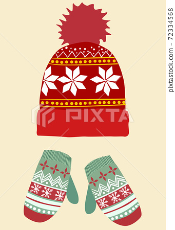 Composition of woolen winter hat and gloves. Christmas themed decorations 72334568