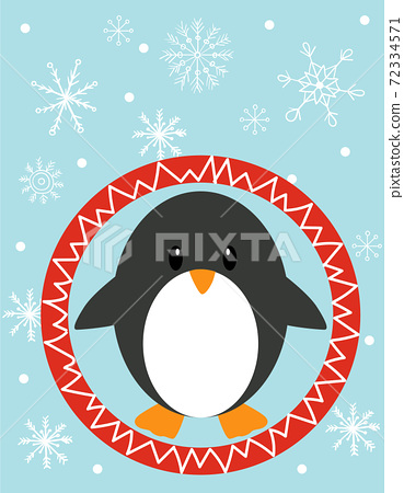 Composition of a penguin inside of a red circle while snowflakes falling around him 72334571