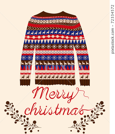 Christmas woolen sweater with twigs beneath it. Vectors 72334572
