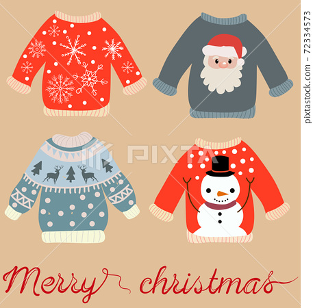 Holiday themed pattern of christmas sweaters with Santa Claus, snowman, snowflakes and elks. Vector 72334573