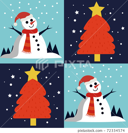 Christmas themed pattern of happy snowman and a pine tree with a star on top 72334574