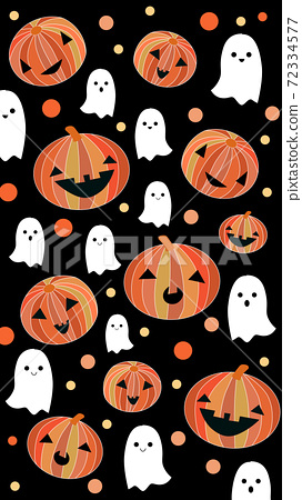 Halloween themed pattern with jack-o-lanterns and ghosts 72334577