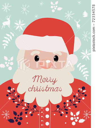 Composition of Santa Claus with Merry christmas wrote on his beard. New year themed decorations, twigs, berries, elks and snowflakes 72334578