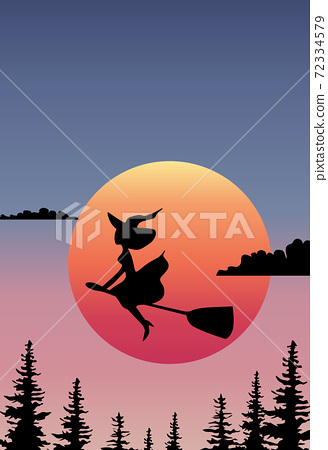 Composition of a witch flying on the broom in front of the rising sun 72334579