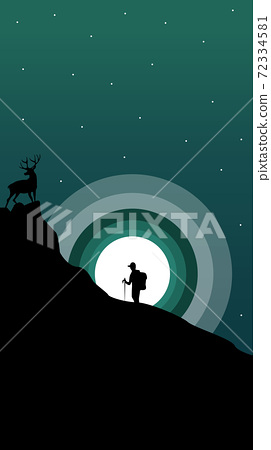 Composition of a hiker climbing a mountain with an elk at the top. Rising setting moon and stars on the sky 72334581