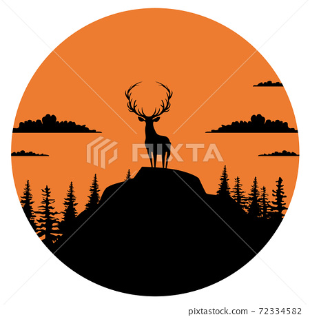Composition of a circle an with elk staying on the top of the mountain with the forest and clouds behind him 72334582
