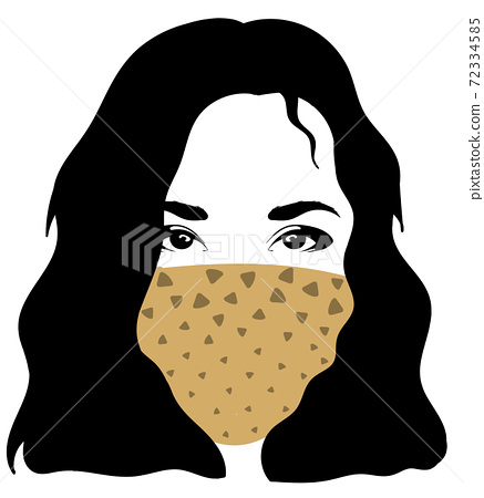 Black haired woman in scarf mask with triangular pattern 72334585