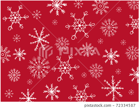 Pattern composed of a variation of snowflakes shaped differently 72334587