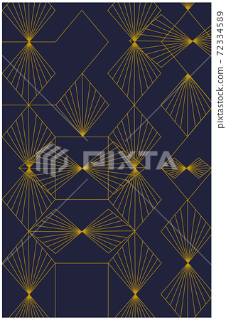 Abstract pattern composed from golden geometrical shapes and lines 72334589