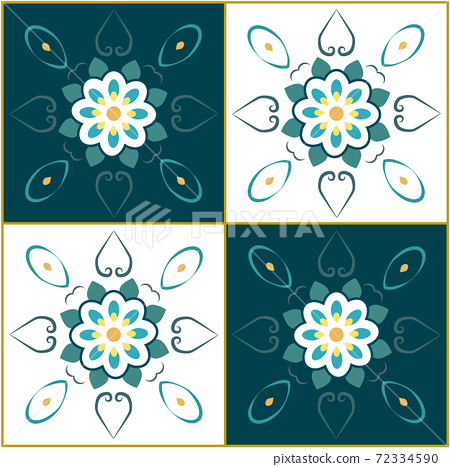 Abstract composition using geometrical and symmetrical shapes of flowers and leaves 72334590