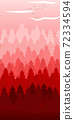 Composition of an abstract red colored forest. Wild nature themed 72334594