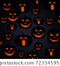 pattern composed of jack-o-lanterns with different facial expressions 72334595