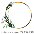 Abstract golden circle with leaves knitted around left side 72334599